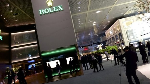 Rolex logo at entrance to Baselworld