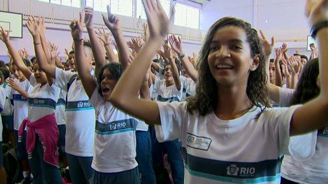 Pupils in Ginasio Experimental Olimpico in Rio