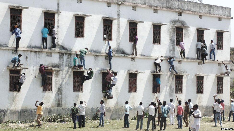 Exam cheating in Saharsa, India