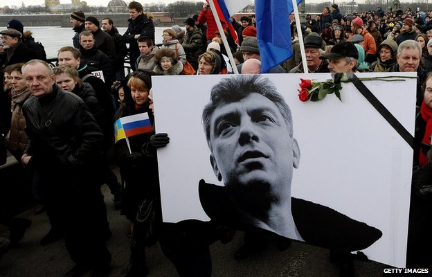 Russia's opposition supporters march in memory of murdered Kremlin critic Boris Nemtsov in central Saint Petersburg on March 1, 2015.