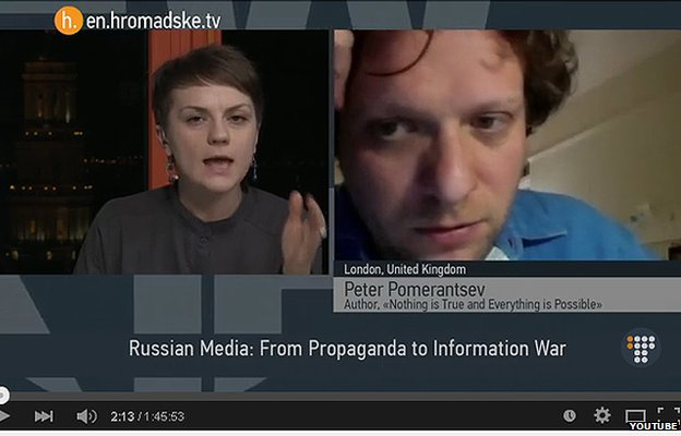Prominent journalist and Russia expert Peter Pomerantsev appears on Ukrainian internet-based Hromadske TV
