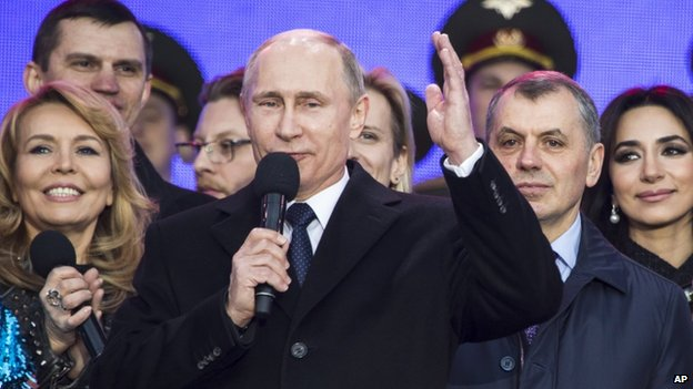 President Putin addresses rally on anniversary of annexation of Crimea (18 March)
