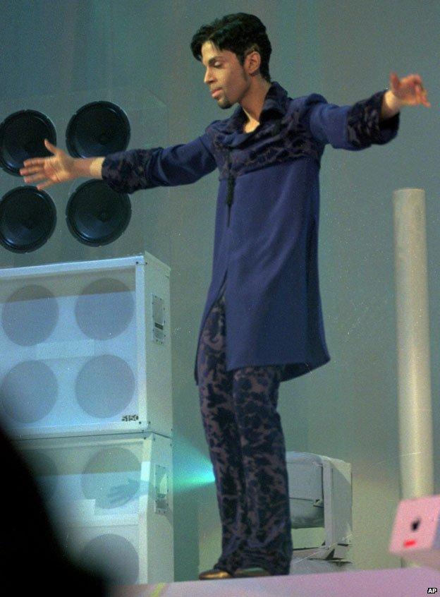 Prince in his Paisley studio