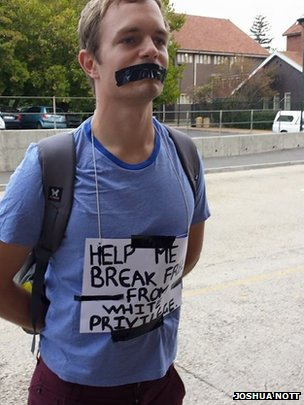 A student protests at UCT