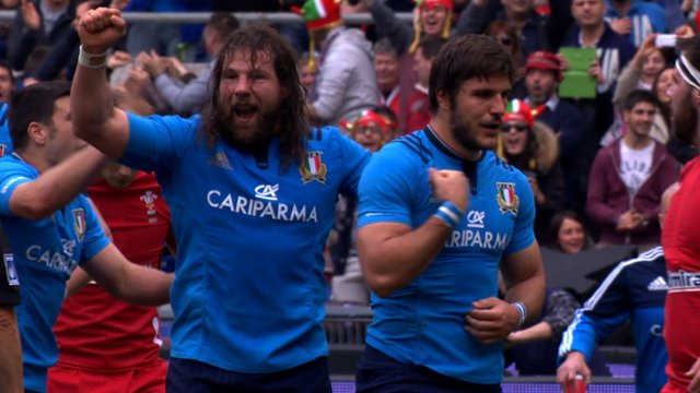 Italy celebrate Giovanbattista Venditti's try against Wales in Rome