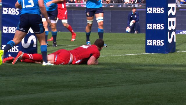 Wales' George North crosses the line against Italy in Rome