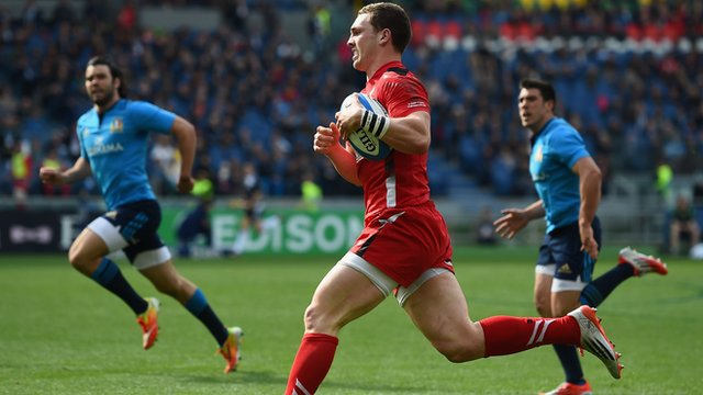 Wales' George North crosses the line in Rome