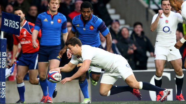 Ben Youngs crosses the line for England against France at Twickenham