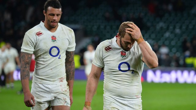 Chis Robshaw and Courtney Lawes show disappointment after coming so close to the Six Nations title