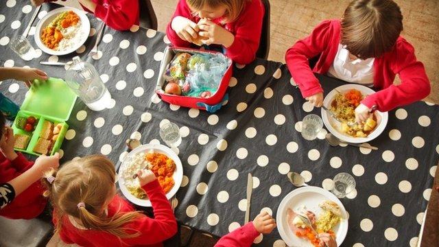 Kids eating school dinners