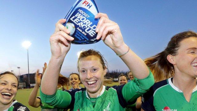 Megan Frazer celebrates Ireland's World League 2 success