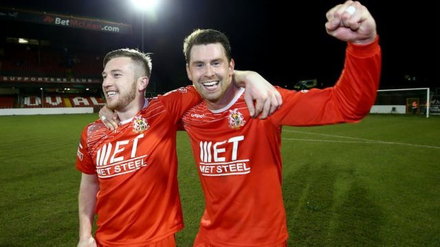 Portadown celebrate after reaching the Irish Cup final