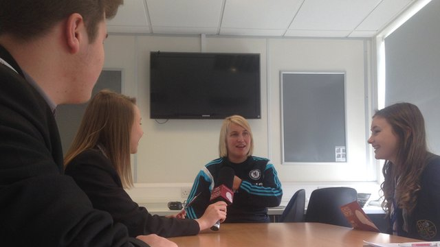 Chelsea Ladies manager Emma Hayes being interviewed by the School Reporters