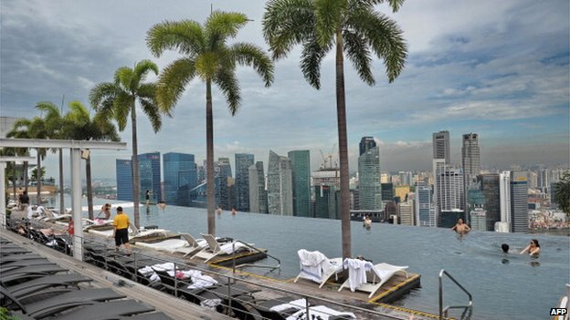 Rooftop infinity pool at Marina Bay Sands Resort in Singapore