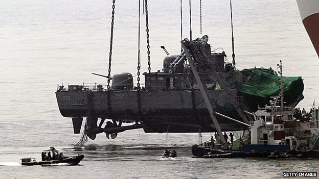 Part of the Cheonan is recovered from the sea on 15 April 2010