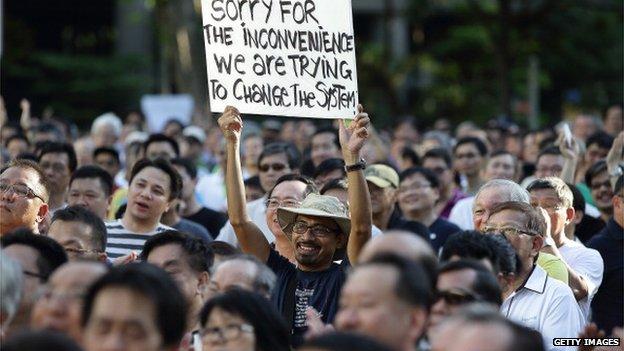 Protesters at Hong Lim Park