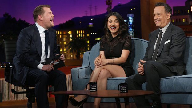 Mila Kunis and Tom Hanks on The Late, Late Show with James Corden