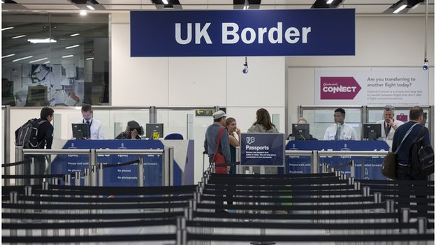 UK Border immigration hall