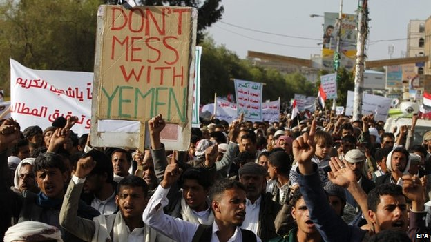 Houthi supporters warn Saudi Arabia not to intervene in Yemen at a protest in Sanaa (13 March 2015)