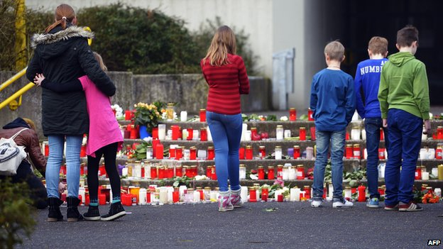 Students father at memorial for pupils of Joseph-Koenig school in Haltern who died in crash