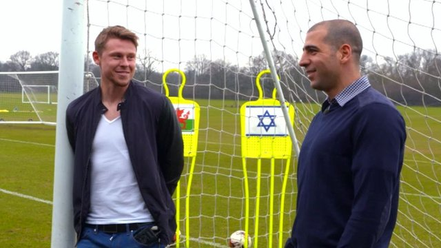 Wales striker Simon Church and Israel defender Tal Ben Haim