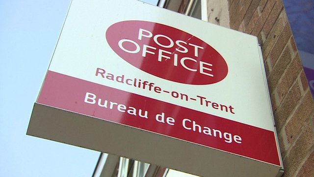 Radcliffe-on-Trent Post Office sign