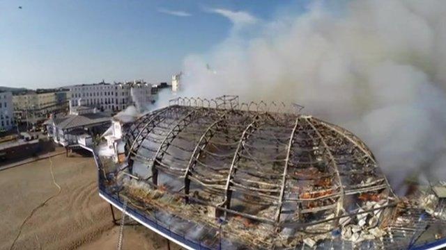 Eastbourne Pier fire filmed by a drone