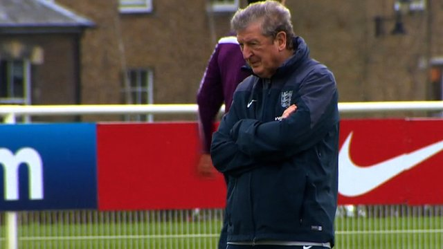 England manager Roy Hodgson watching training