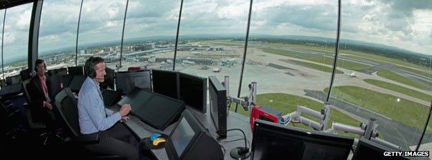 Air traffic controllers at Manchester airport, 2013