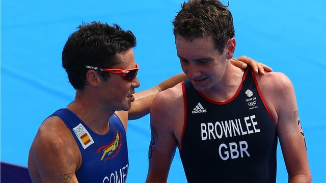 World champion Javier Gomez and Britain's Alistair Brownlee (L-R)