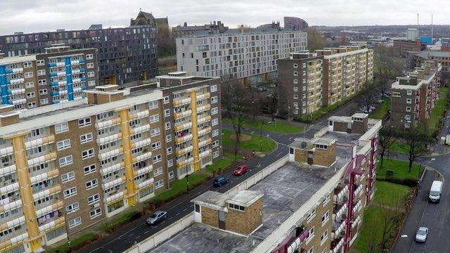 Aerial shot of flats