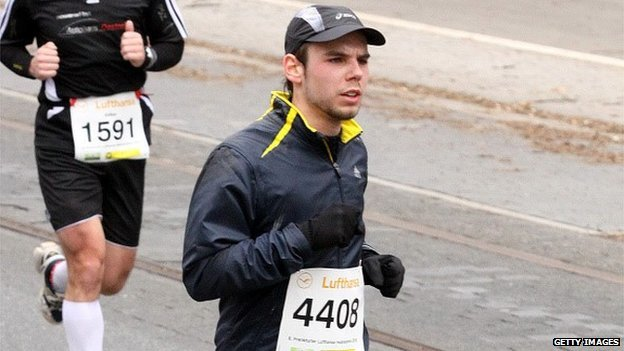 Andreas Lubitz participates in the Airport Hamburg 10-mile race on 13 September 2009 in Hamburg