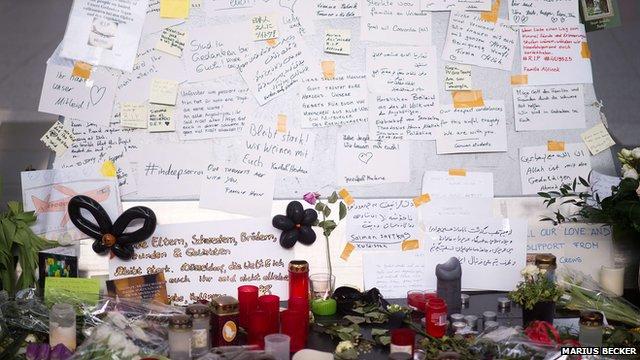 Memorial at Duesseldorf Airport to victims of Germanwings Alps plane crash