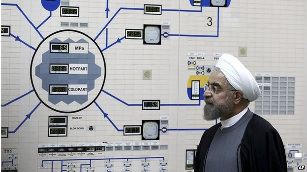 Iranian President Hassan Rouhani at Bushehr nuclear power (Jan 2015)
