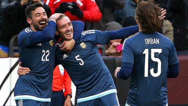 Federico Mancuello of Argentina celebrates his second half goal against El Salvador