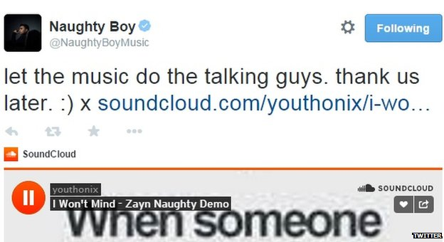 Naughty Boy shared the song on Twitter