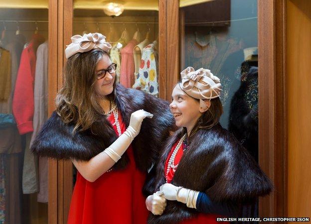 Visitors dress in vintage clothing in Virginia Courtauld's walk-in wardrobe