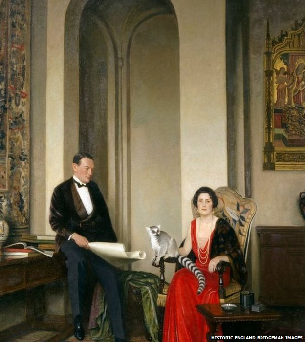 Painting of Stephen Courtauld and his wife Virginia pictured with their pet lemur Mah Jongg in their home in Grosvenor Square, London