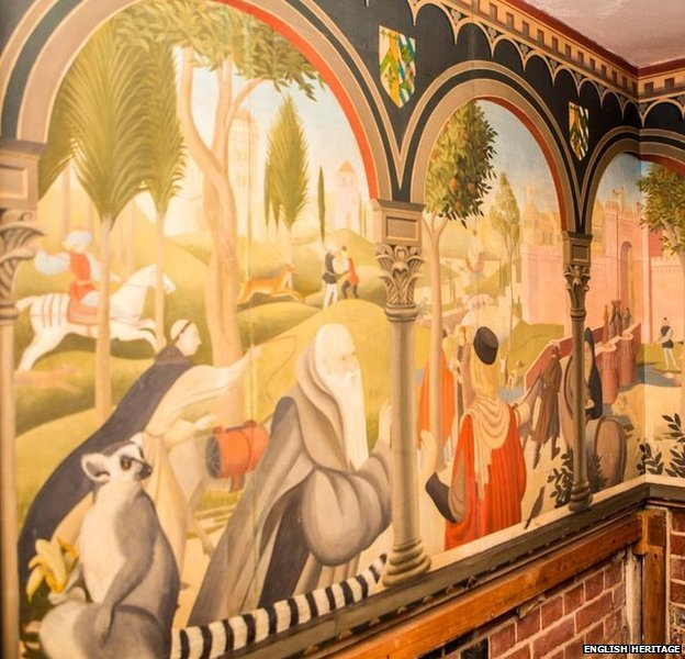 Mural by Mary Adshead in the basement at Eltham Palace