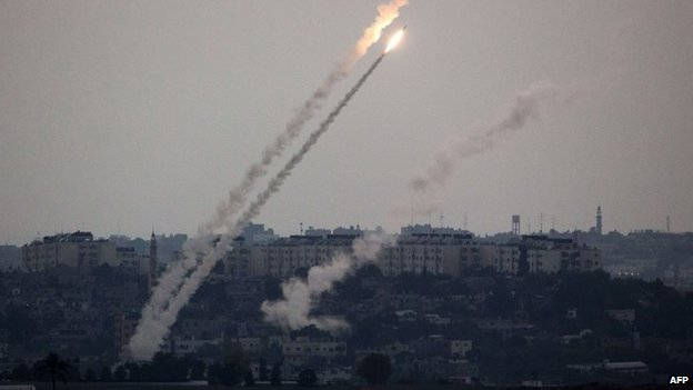 Rockets launched from the Gaza Strip towards Israel (11 July 2014)
