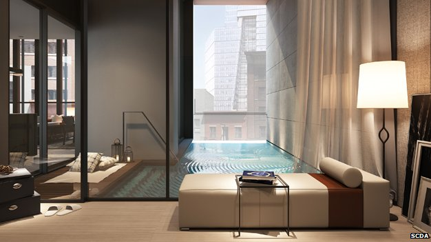 An artist's impression of an apartment with a swimming pool at Soori High Line in New York