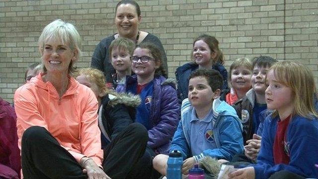 Judy Murray coaching kids in Dumfries