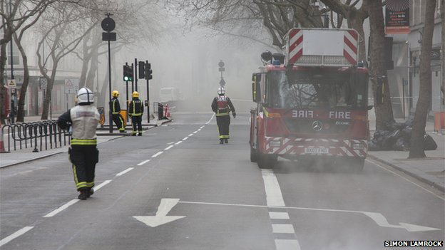 Fire fighters at the scene on Kingsway in Holborn, London