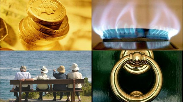 Collage: Pound coins, a gas hob, pensioners sitting on a bench looking at the sea, and a shiny golden doorknob against a green door