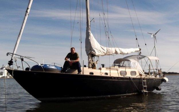 Louis Jordan on his boat
