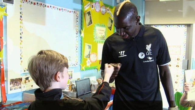 Mamadou Sakho at Liverpool school