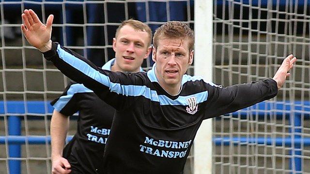 Darren Boyce celebrates scoring against Coleraine