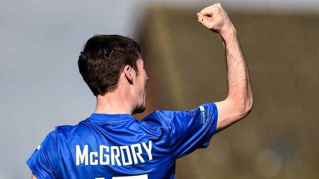 Andy McGrory celebrates scoring against Glentoran