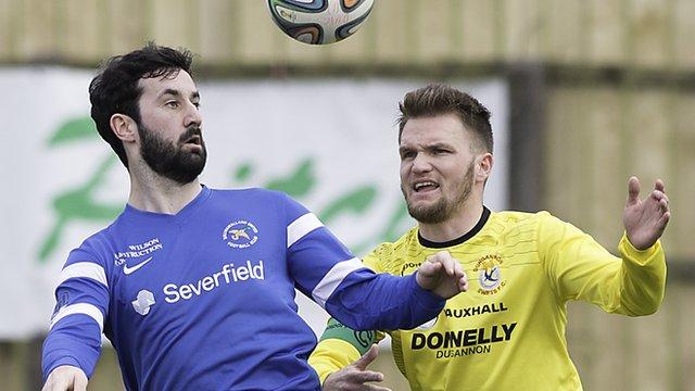 Match action from Ballinamallard against Dungannon Swifts