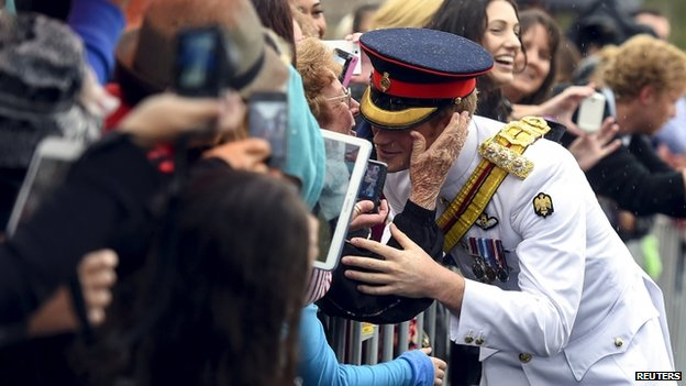 Prince Harry meeting a crowd in Australia